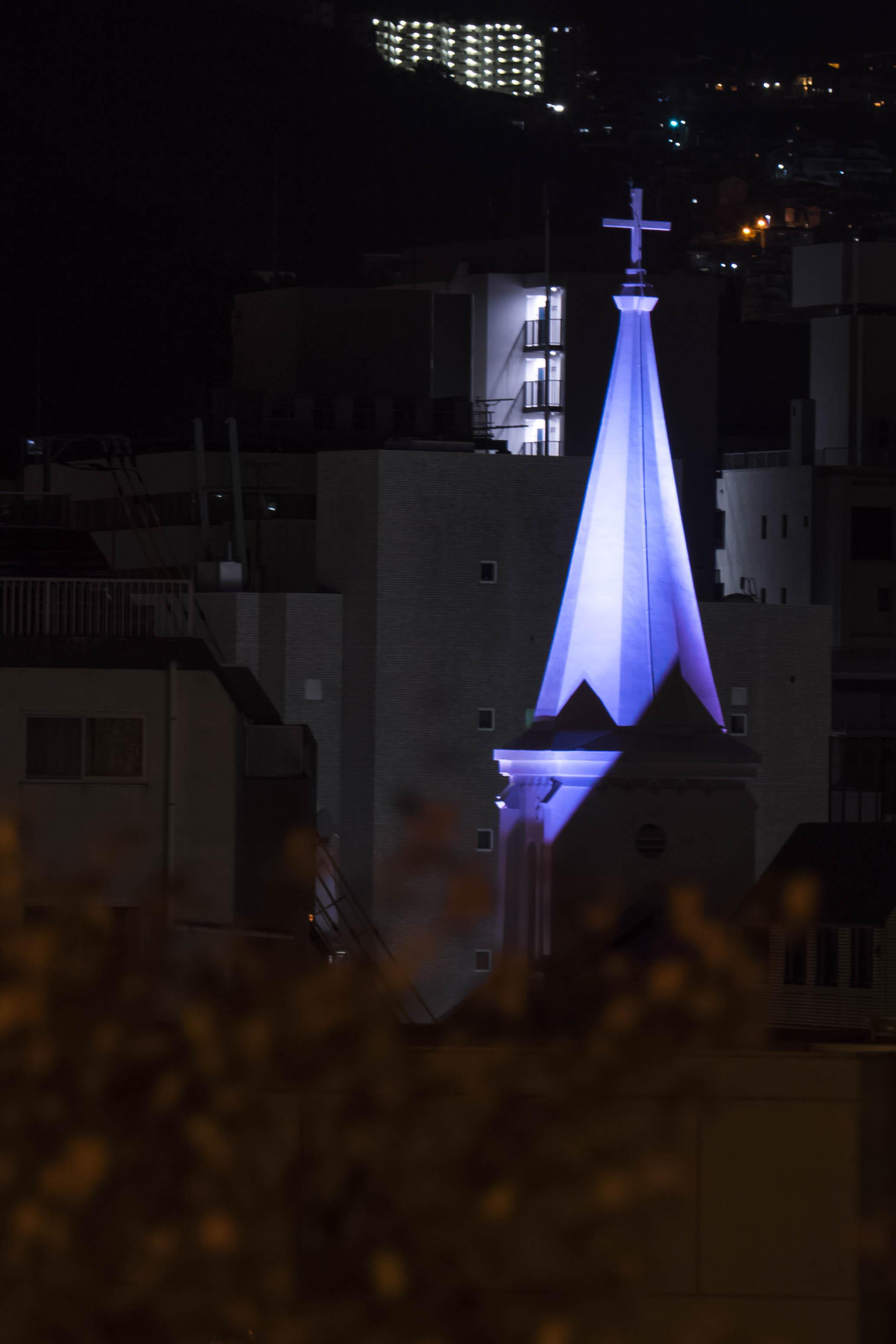 西坂公園からのライトアップされた中町教会