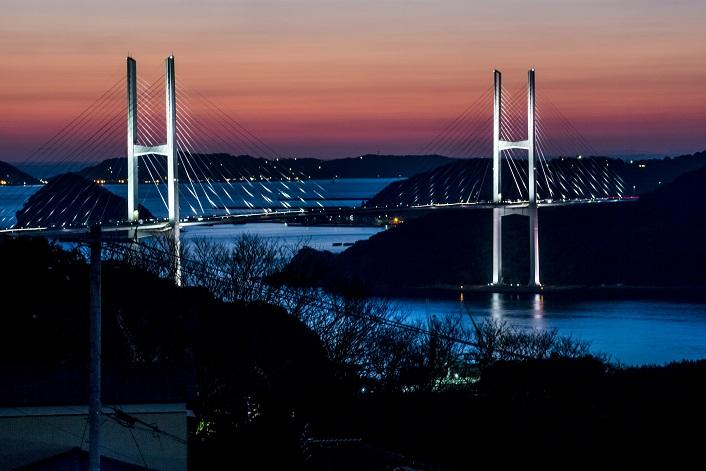長崎県道237号小ヶ倉田上線からの女神大橋