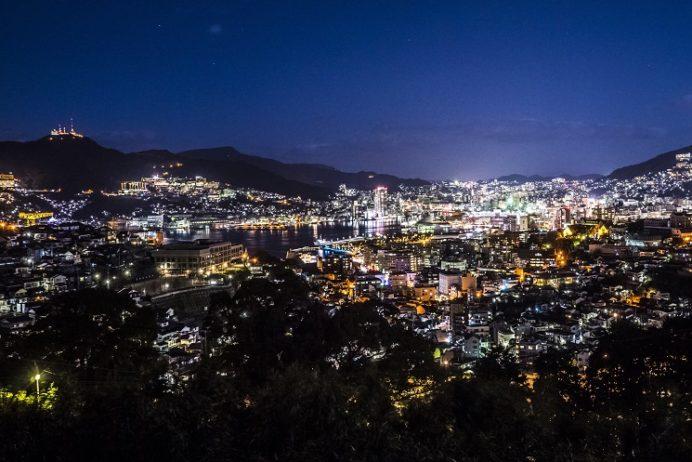 長崎県道237号小ヶ倉田上線からの長崎の夜景