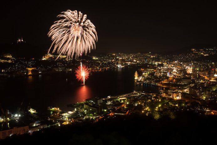 鍋冠山公園からの花火大会(長崎帆船祭り)