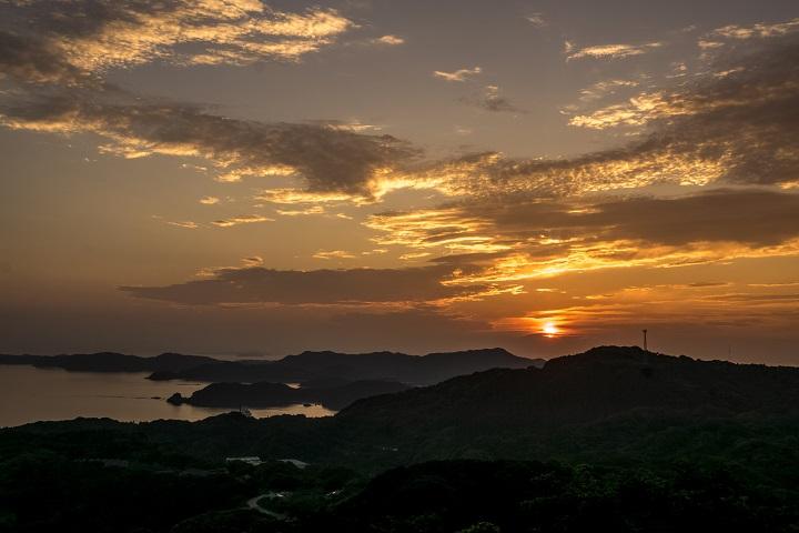 長尾城跡公園(長崎県西海市)の夕景