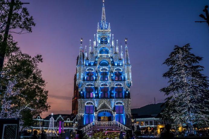 """白銀の世界""""Wishes Wonderland""""(ハウステンボスのイルミネーション、光の王国)"""