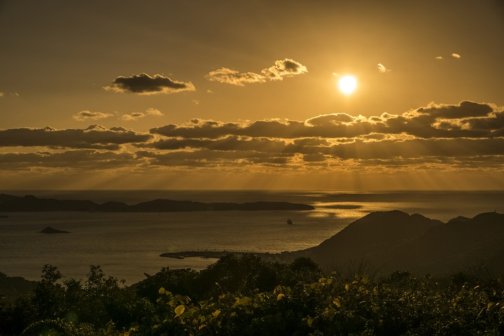 稲佐山公園(長崎市)、鉢巻山展望台の夕日