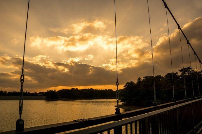 野岳湖公園(大村市)の夕日