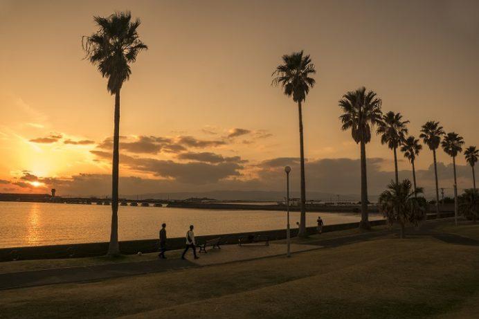 森園公園(大村市)の夕日