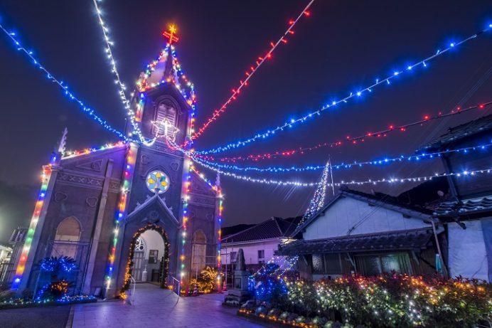 崎津教会(熊本県天草市河浦町)のイルミネーション