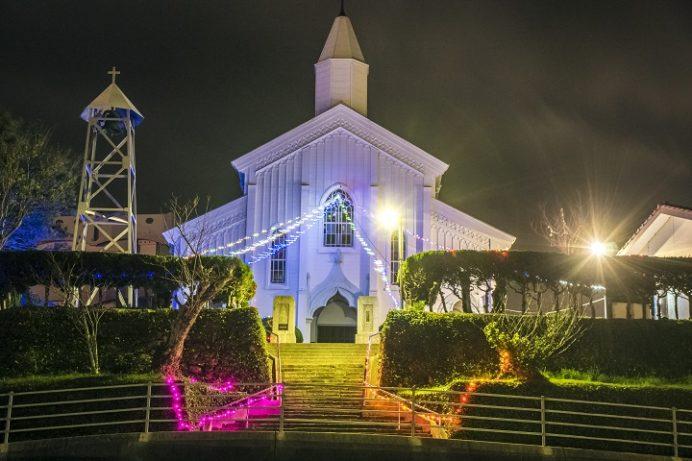 水ノ浦教会(五島市岐宿町)のイルミネーション