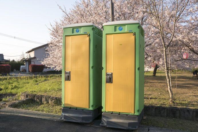 「もりやま桜まつり」の会場(諫早市商工会前広場)の桜、花見(森山町)