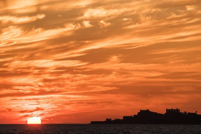 高浜海水浴場(アイランド)、長崎市野母崎地区の夕日
