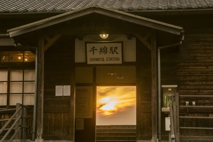 JR千綿駅の夕日(長崎県東彼杵郡東彼杵町)