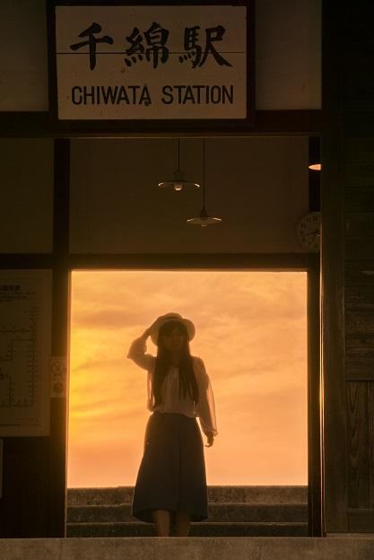 JR千綿駅の夕日(長崎県東彼杵郡東彼杵町