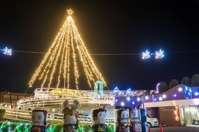 多良見のぞみ会館 光のフェスティバルのイルミネーション (諫早市多良見町木床のぞみ公園)