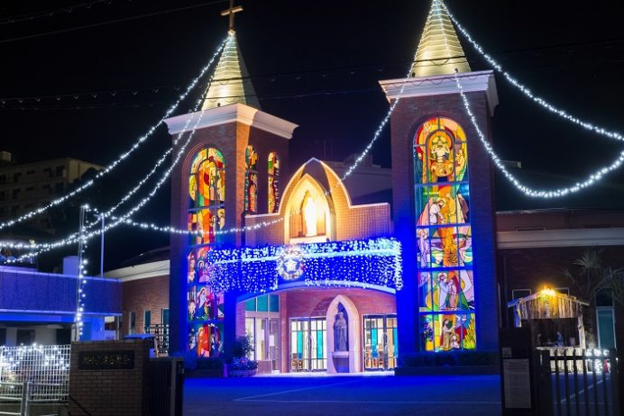 カトリック滑石教会(長崎県長崎市滑石5丁目2−6)のクリスマスイルミネーション