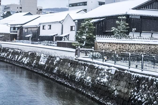 出島(出島和蘭商館跡)、長崎市の雪化粧