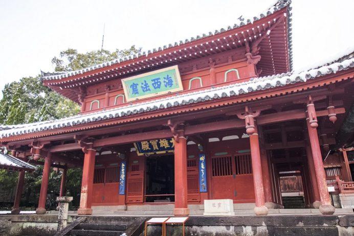 崇福寺(長崎市鍛冶屋町)の大雄宝殿(本堂)、雪化粧