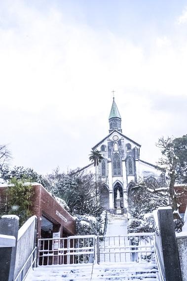 大浦天主堂(長崎市南山手)、世界遺産、国宝の雪化粧