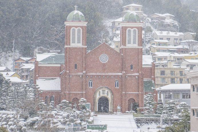 浦上天主堂(長崎市本尾町)、雪化粧、天主堂の見える丘