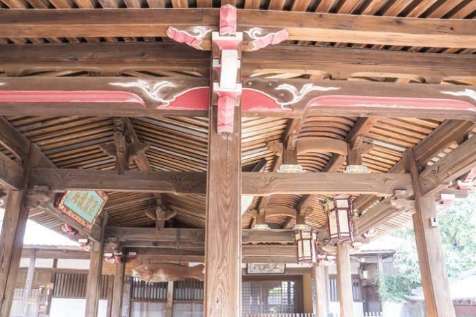 崇福寺(長崎市鍛冶屋町)の媽祖門、舟底天井・黄檗天井