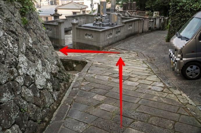 祈念坂から大浦天主堂へのルート