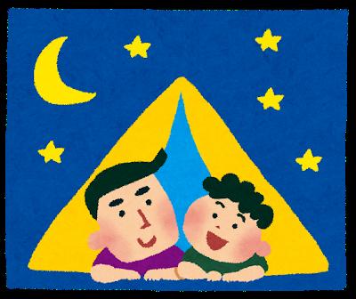 キャンプ、テントのイラスト