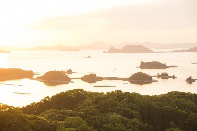 九十九島観光公園(佐世保市下船越町)の夕日(夕景)