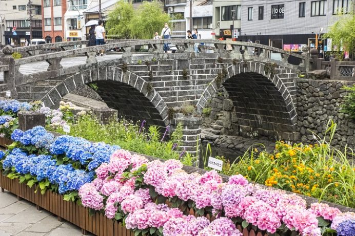 眼鏡橋(長崎市魚の町・中島川石橋群)、ながさき紫陽花(あじさい)まつり
