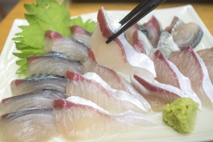 竹野鮮魚店(諫早市永昌東町)のサバの刺身