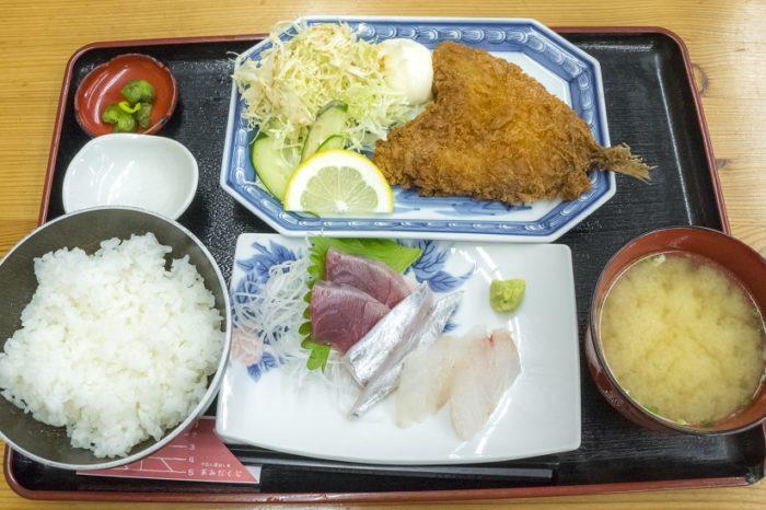 竹野鮮魚店(諫早市永昌東町)のアジフライ&ミニ刺身セット